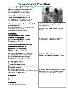 La Carretera Spanish Song Lyrics & Activities - Prince Royce - Musica
