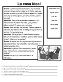 "La Casa Ideal Reading activity--Using ""hay,"" furniture voc"