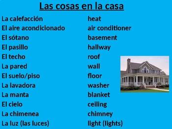 La Casa & Los Quehaceres Vocabulary PPT