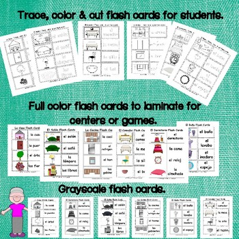 La Casa, Spanish home FLASH CARDS - color, grayscale, & color and cut