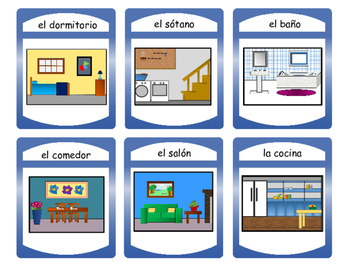 La Casa- Spoons Card Game- The House Vocabulary in Spanish