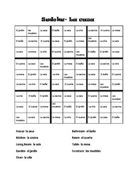Spanish Home Vocabulary, La Casa Sudoku