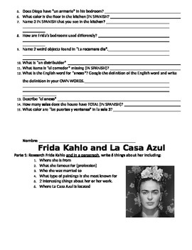 La Casa Vocabulary Scavenger Hunt: Frida Kahlo & Diego Rivera's home