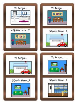 La Casa Yo tengo/¿Quién tiene? Card Game- Spanish House Vocabulary