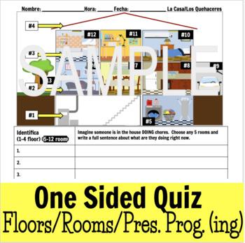 La Casa y Los Quehaceres Prueba - Present Progressive House/Chores Quiz