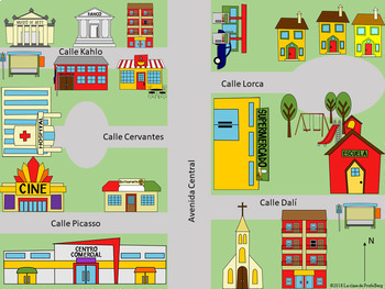 La Ciudad y preposiciones The city and prepositions Spanish Activities Bundle