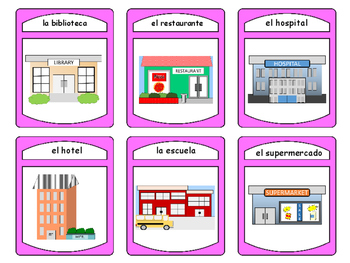 La Ciudad Spoons Card Game -The City Vocabulary in Spanish