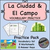 La Ciudad y El Campo Vocabulary Worksheets in Spanish (Asi Se Dice Ch 8)
