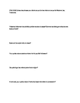 La Classe de Madame Lise - Questions - AP French