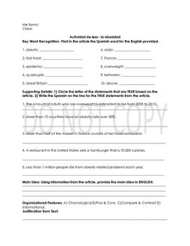 La Comida Authentic Readings 3 activity pack