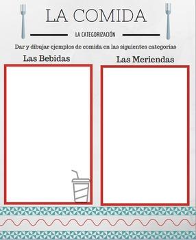 La Comida: Categorization & Drawing Activity