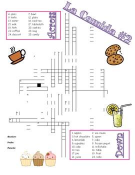 La Comida Crossword - Food Crossword - Drinks, Desserts, T