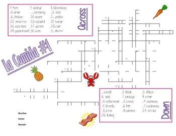 La Comida Crucigrama - Food Crossword (fruits, vegetables, meats)
