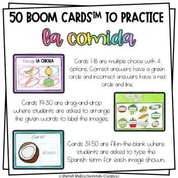 La Comida Digital Task Card Activity | BOOM Cards