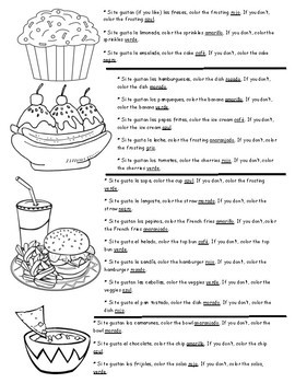 La Comida Food Glyph - Food Vocabulary and Colors