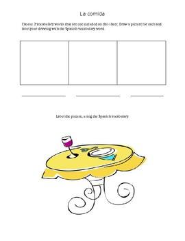 La Comida/ Food Practice Worksheet