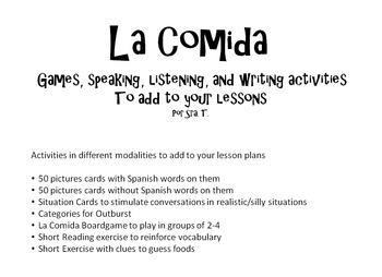 La Comida Gameboard and other Activities