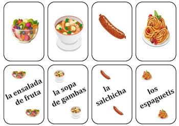 La Comida  Go Pez/Food Game (like  Go Fish and Rummy)