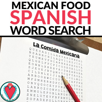 Mexican Food Word Search - La Comida Mexicana
