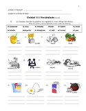Spanish Food Vocab Practice Worksheets (Avancemos 1 Unit 3.1)