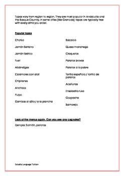 La Comida - reading Spanish menus.