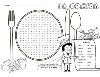 La Comida - wordsearch