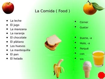 La Comida y formas de gustar para los niños