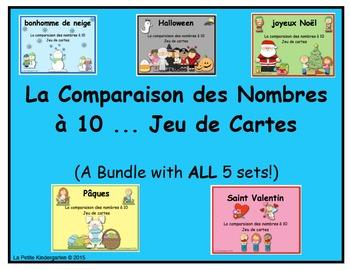 La Comparaison des Nombres à 10 ... Jeu de Cartes  (BUNDLE of 5 sets)