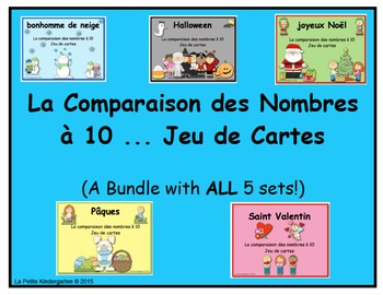 La Comparaison des Nombres à 10 ... Jeu de Cartes  (BUNDLE of 5 sets)