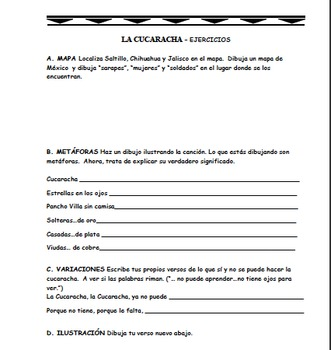 La Cucaracha - Mariachi Music (MP3), Worksheets, and Pictures  to Learn Spanish