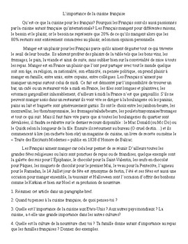 La Cuisine Francaise - French Reading Comprehension Activity