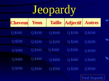 La Description Physique - Jeopardy Game