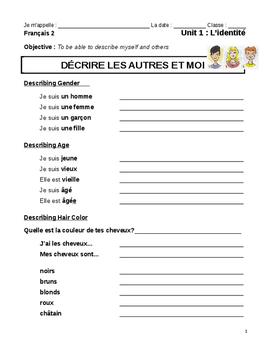La Description Physique (notes sheet)