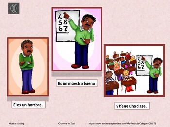 La Escuela 2 -Spanish Musical Echoing Slide Show for Comprehensible Input