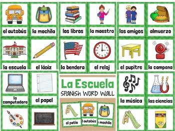 La Escuela SPANISH School Vocabulary Word Wall