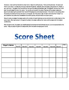 La Escuela - School - Card Game - Los Utiles Escolares - R