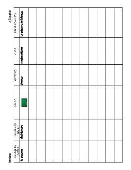 La Escuela - School Supplies/Classrom Objects Vocabulary Chart