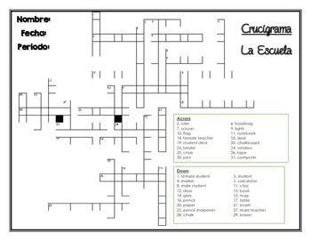 La Escuela - School Supplies/Classrom Objects Vocabulary Crossword