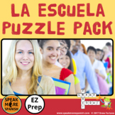 La Escuela. Spanish Puzzle Pack and Sub Plans for School Vocabulary. Vocabulario