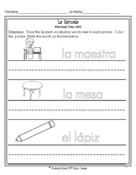 La Escuela - Student worksheets about school vocabulary in Spanish.