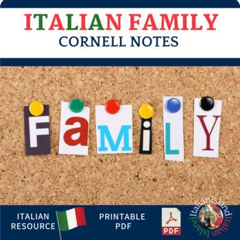 La Famiglia - Italian Family Vocabulary Cornell Notes and S/P  Practice