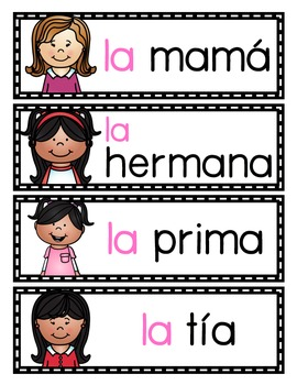 La familia: A Writing Center and Word Wall Set in Spanish