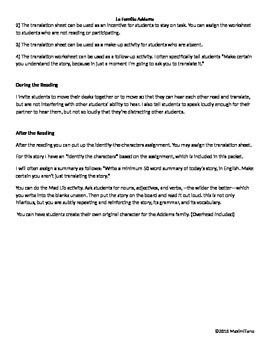 La Familia Addams --High Interest Story and Fun Activities