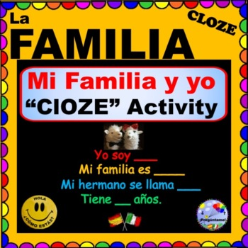 La Familia CLOZE Activity for Spanish Class