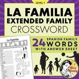 La Familia (Extended Family) - Spanish Family Crossword Puzzle Worksheet