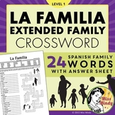 La Familia (Extended Family) - Spanish Family Crossword Puzzle Worksheet