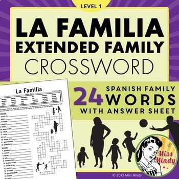 La Familia (Extended Family) - Spanish Family Crossword Pu