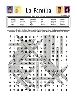 La Familia (Extended Family) - Spanish Family Word Search Worksheet