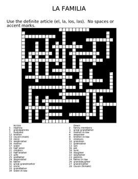 La Familia Family Crossword