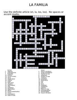 La Familia Family Crossword Answer Key